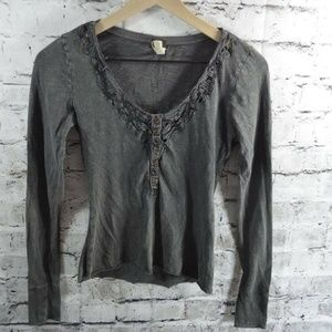 We The Free People Heathered Gray Lace Henley